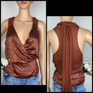 Walter Baker 100% Silk Sequin Wrap Vest Blouse Top